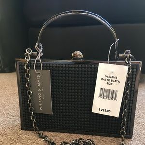 Whiting & Davis clutch black metal mesh NWT